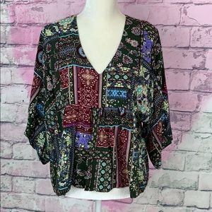 Sans Souci flowy boho style top loose 3/4 sleeve